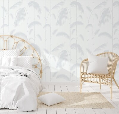 Palm Reeds - Soft Blue Removable Wallpaper