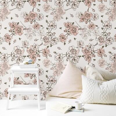 Blush Boho Blooms Removable Wallpaper