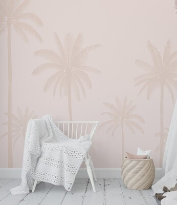 Dusty Blush Palm Trees Removable Wallpaper