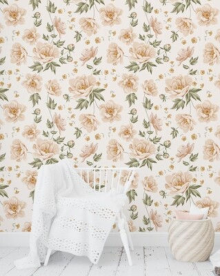 Peachy Blooms Removable Wallpaper