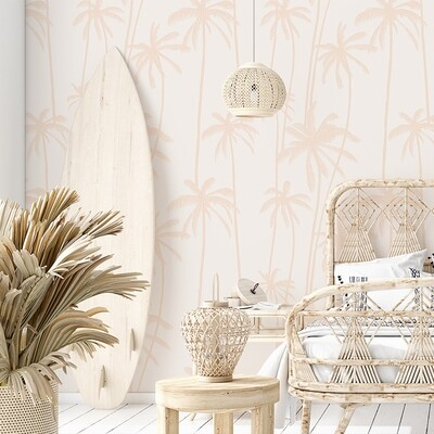 Peachy Palms Removable Wallpaper
