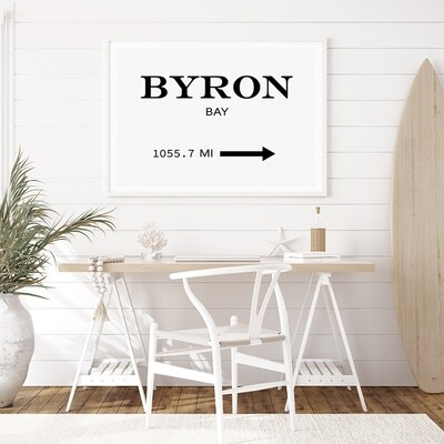 Byron Bay Sign (or choose your own destination & distance)