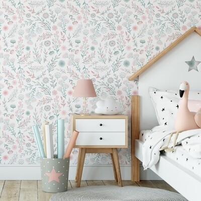 Blush & Sage Garden Removable Wallpaper