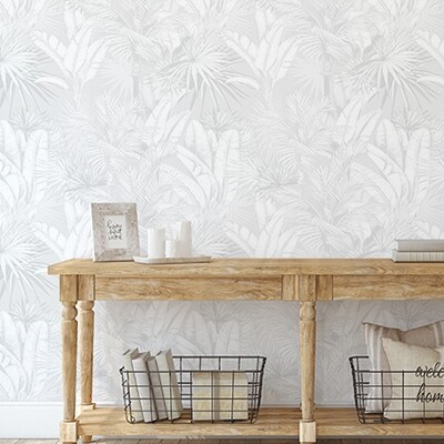 Luxe Palms Removable Wallpaper - Soft Grey - Smooth Look