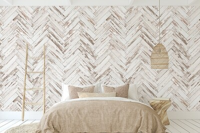 Distressed Wooden Parquetry Removable Wallpaper (full wall)