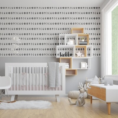 Moon Phases (half wall) Removable Wallpaper. Only 1 in stock! 2.4 metres wide x 1.2 metres high - only $100!