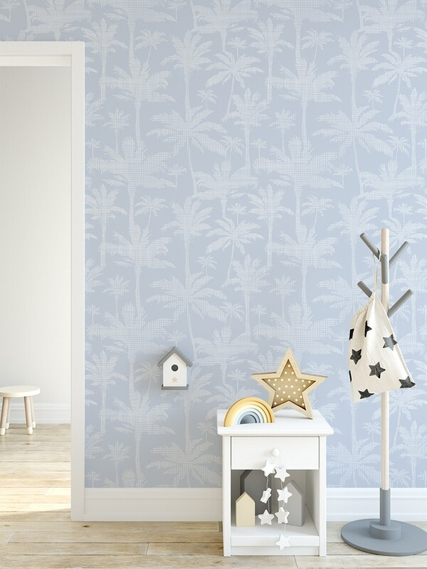 Blue Palms (and pale blue) Removable Wallpaper