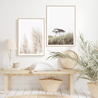Pair Special! Coastal Pampas Grass (portrait) & Beach House Set