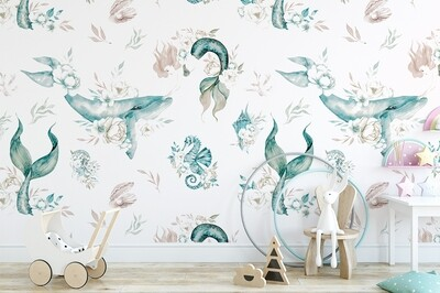 Mermaid Floral Removable Wallpaper (Teal)
