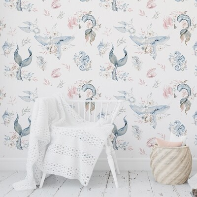 Mermaid Floral Removable Wallpaper (Pink/Blue)