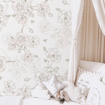Pale Blush Boho Blooms Removable Wallpaper