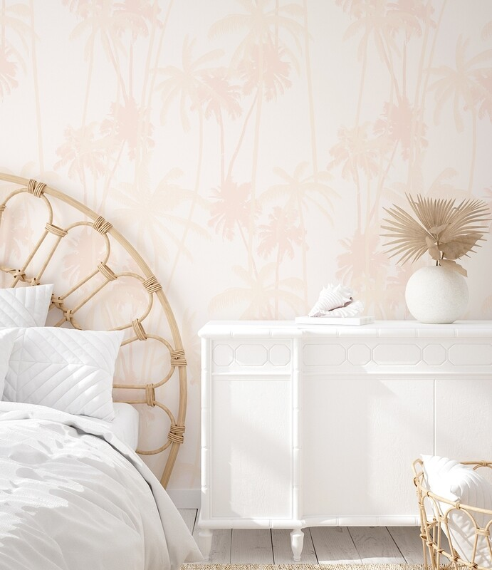 Blush Boho Palms Removable Wallpaper