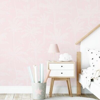 Pastel Pink Palms Removable Wallpaper