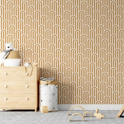 Boho Arches Removable Wallpaper (Mustard)