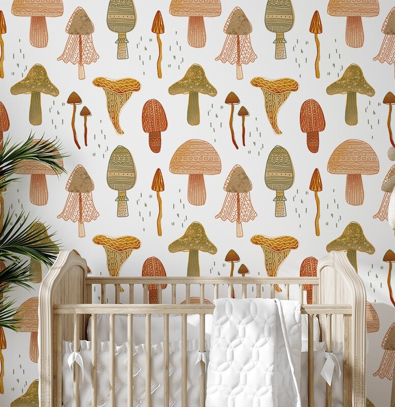Forest Mushrooms Removable Wallpaper