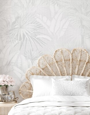 Luxe Palms Removable Wallpaper - Soft Grey