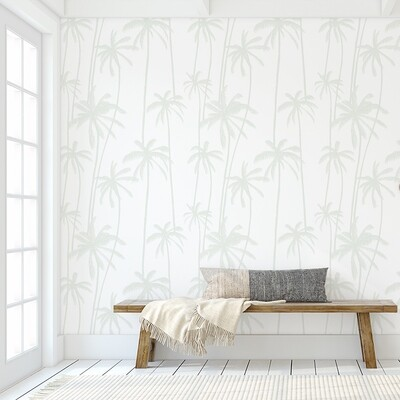 Seamist Sage Palms Removable Wallpaper