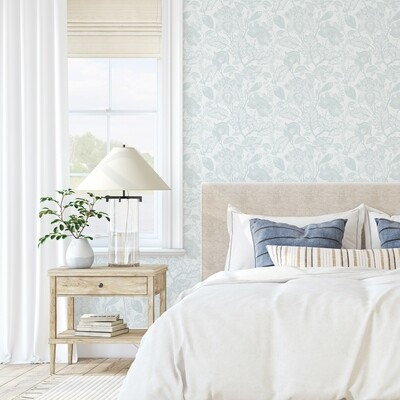 Hamptons Floral (Duck Egg) Removable Wallpaper