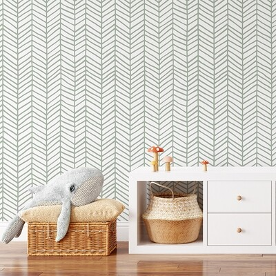 Feather (Sage) Removable Wallpaper
