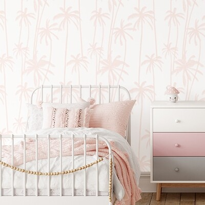 Palms (Pink/White) Removable Wallpaper