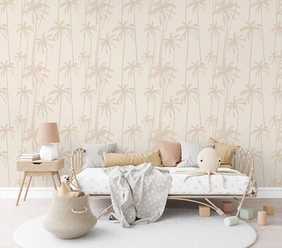 Neutral Palms (Brown) Removable Wallpaper