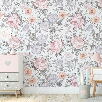 Maddie Lilac & Pink Removable Wallpaper