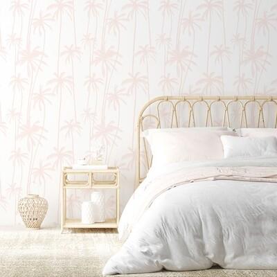 Palms (Pink/White) Removable Wallpaper