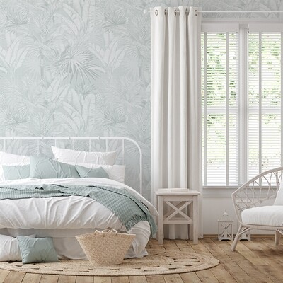 Luxe Palms Removable Wallpaper - Duck Egg Blue