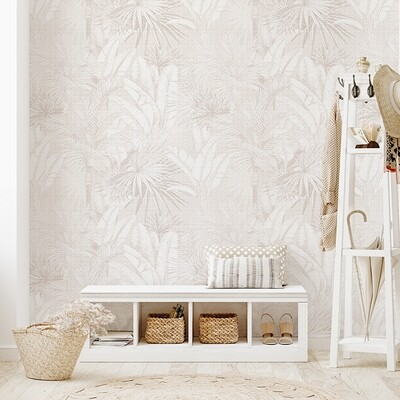 Luxe Palms Removable Wallpaper - Chai