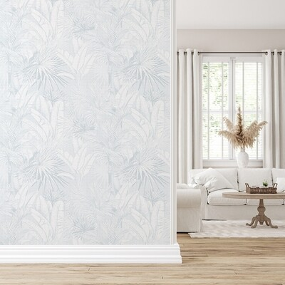 Luxe Palms Removable Wallpaper - Pale Blue
