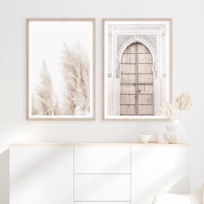 *SPECIAL* Moroccan Door & Coastal Pampas Grass (portrait) set