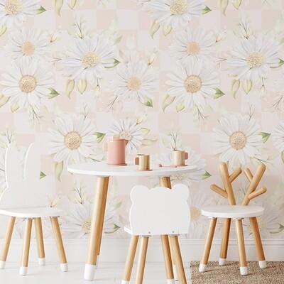 Daisy Checks Removable Wallpaper