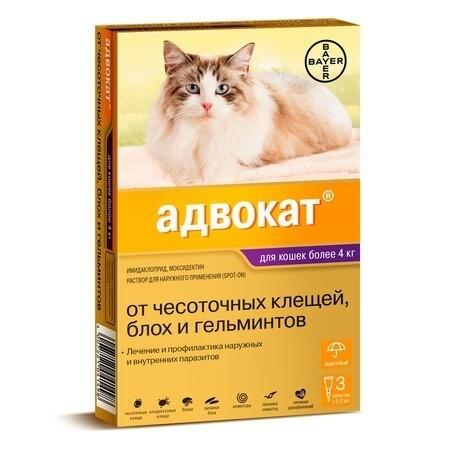 Адвокат д/кошек от 4 до 8 кг, 1 пипетка