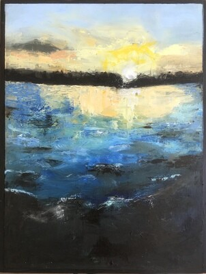 Sundown on a Turquoise Lake   Janet Dixon