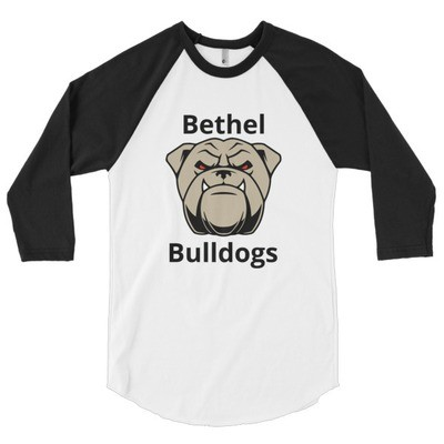 3/4 sleeve raglan shirt with bulldog face