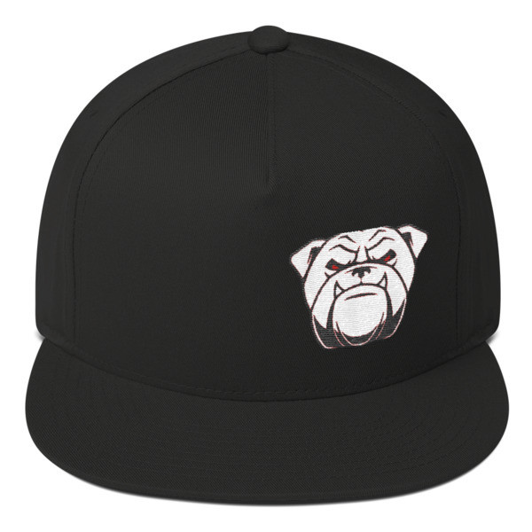 Flat Bill Cap with bulldog face
