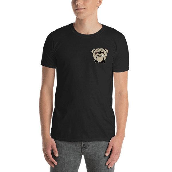 Short-Sleeve Unisex T-Shirt w/ small bulldog face on left