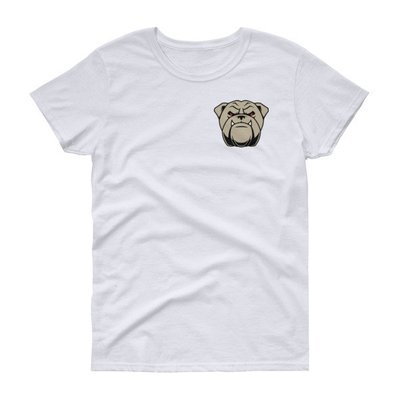 Women's short sleeve t-shirt w/small bulldog face