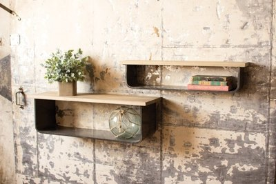 Wood and Metal Shelves