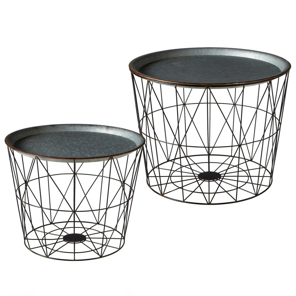 Nested Table with Removable Galvanized Tray