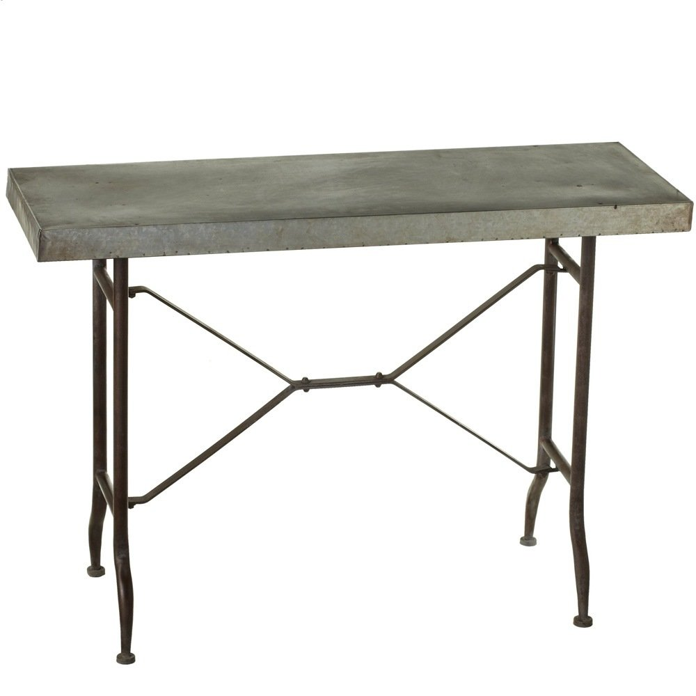 Galvanized Metal Top Console Table