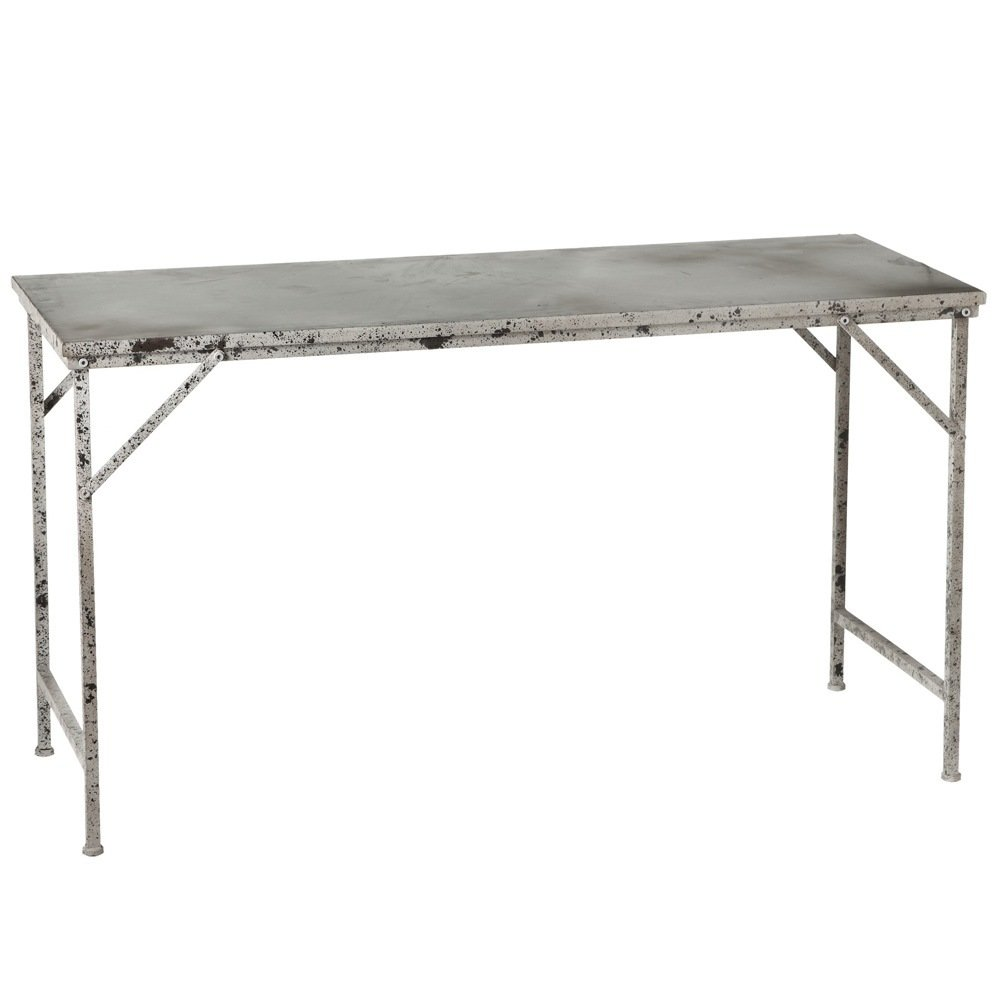 Distressed Ivory & Galvanized Table