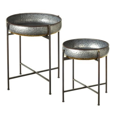 Galvanized with Gold Accent Round Side Tables