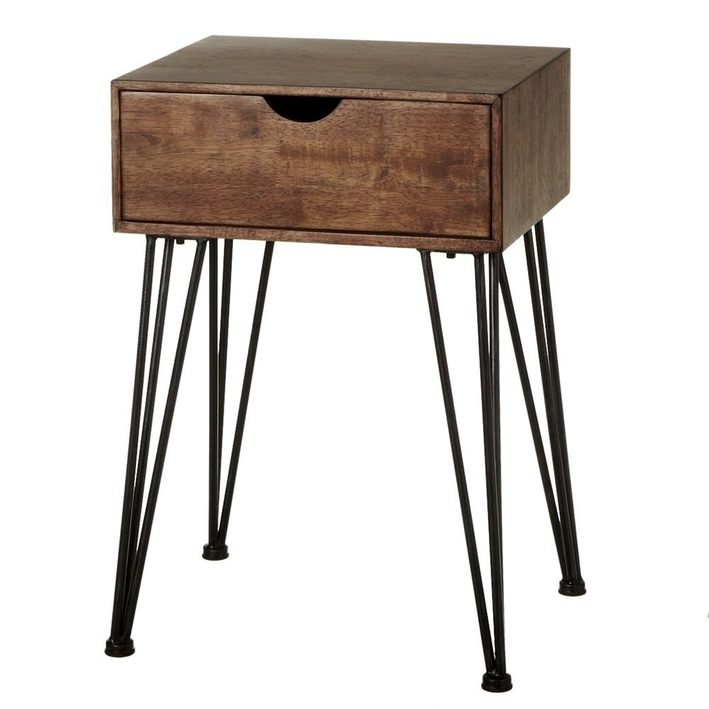 Wood Side Table with Hairpin Legs