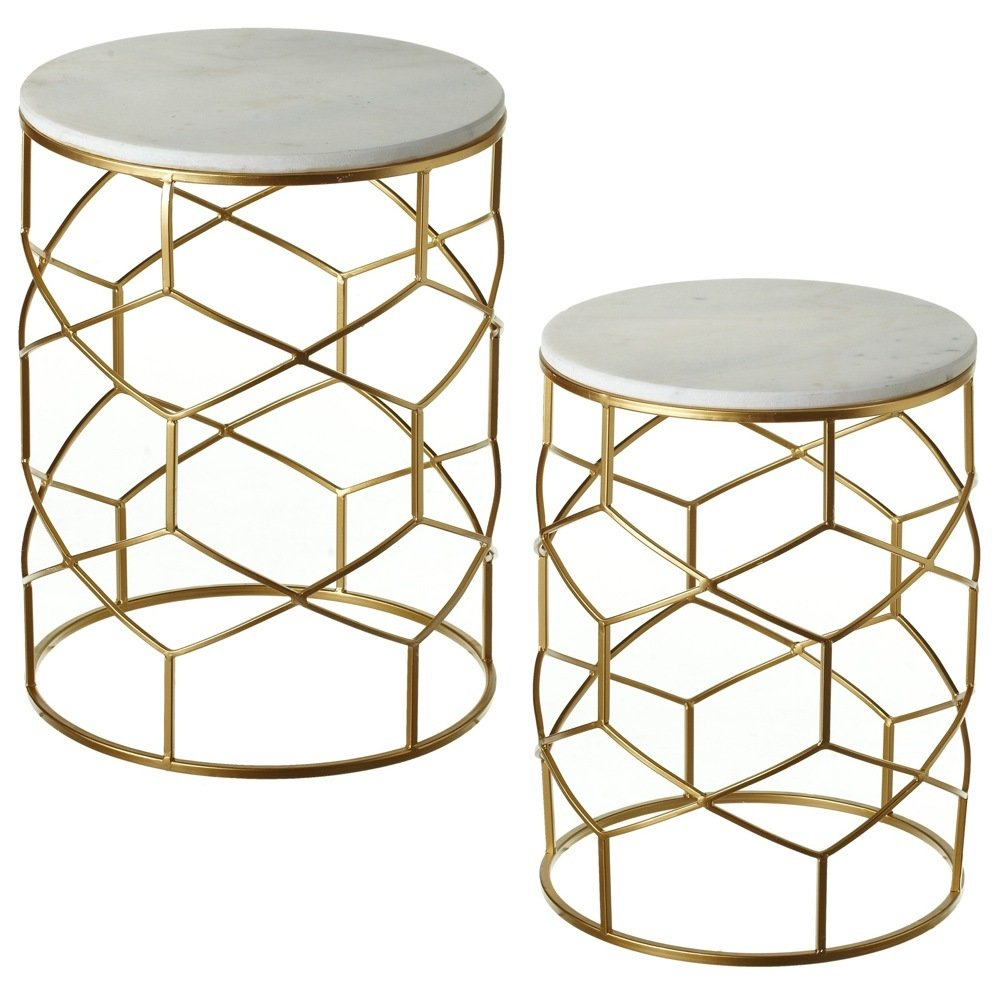 Round Nested Marble Side Table With Gold Geometric Base