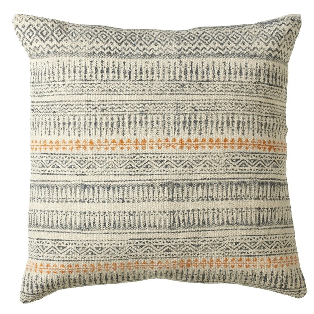 Grey & Blue Block Print Pillow