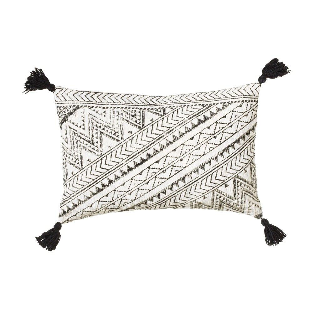 Black & White Block Print Pillow with Tassels