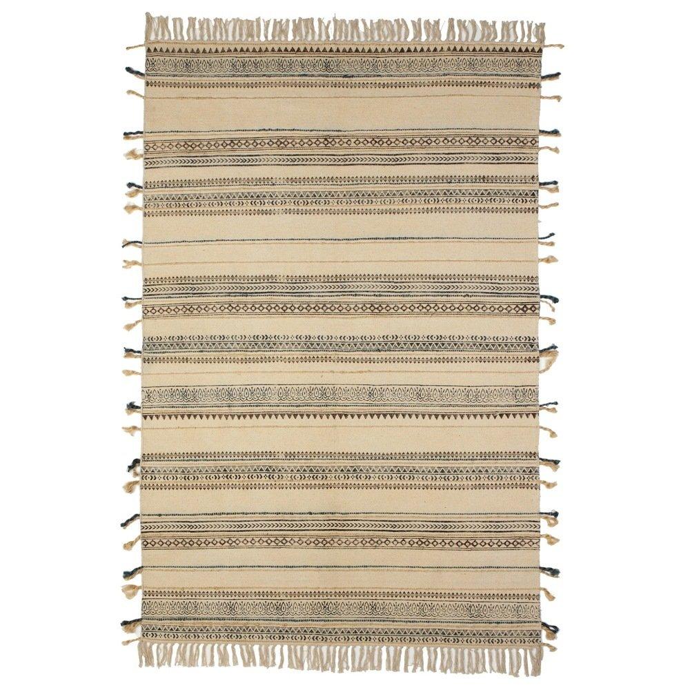 Block Print Pattern Thread Stripe Rug