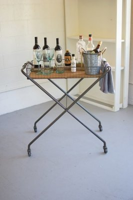 Wire & Honey Wood Tray with Folding Base & Casters