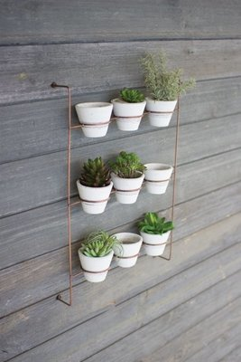 White Wash Clay Pots on Copper Finish Wall Rack
